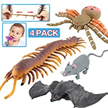 Halloween Toys,Joke Tricks 9 Inch Rubber Spider Bat Mouse Centipede Toy Set,Food Grade Material TPR Super Stretchy,Zoo World Halloween Prop Realistic Creepy Scary Squishy Party Favor Gag Prank Toy