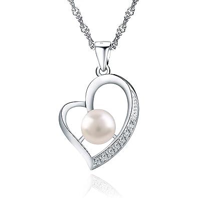 e1d6b12858c3 Wonvin corazón collar de perlas colgantes