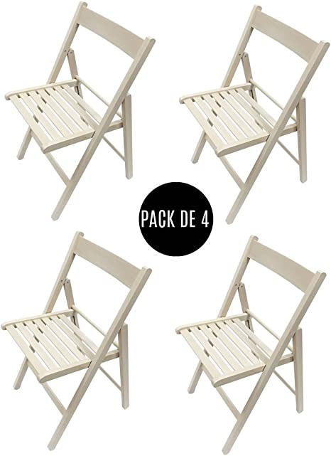 Silla plegable. Pack de 4 sillas plegables (Blanco roto): Amazon ...