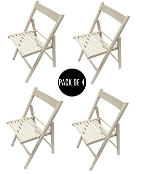Silla plegable. Pack de 4 sillas plegables (Blanco roto)