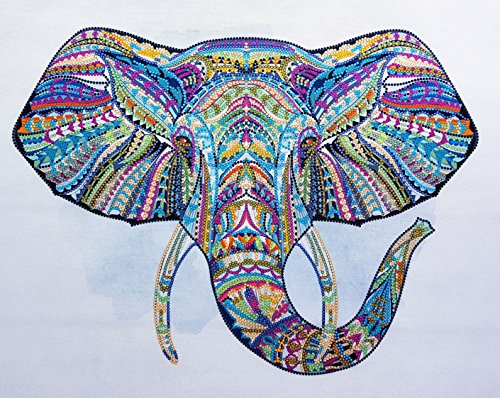 (Rainbow Elephant 3D Bead Embroidery kit Needlepoint Tapestry Kits Beaded Cross Stitch Contemporary Embroidery Beadpoint Pattern Seed Beads)