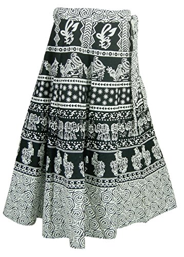 India Womens Printed Clothing Cotton Wrap Skirt - Hand Block Printed Cotton Skirt