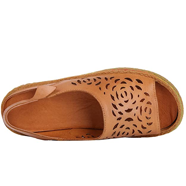 Amazon.com | HUIZUMEI Womens Casual Genuine Leather Loafers Hollow Out Sandal Slip-on Flats Shoes | Loafers & Slip-Ons