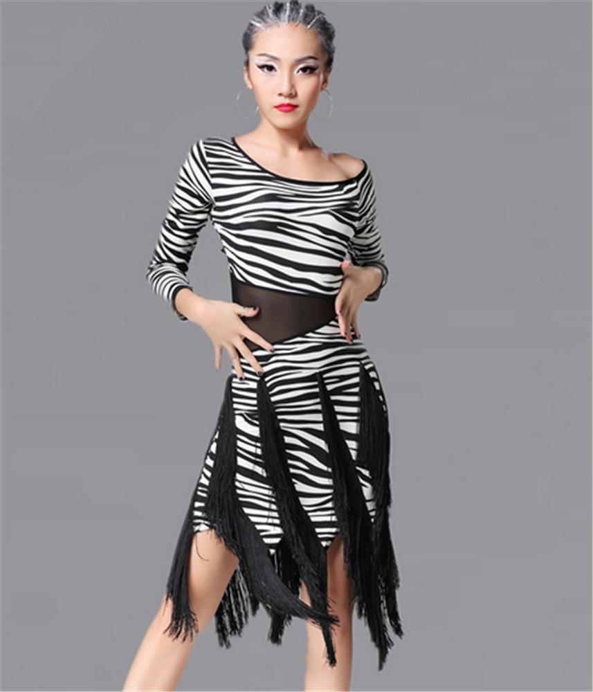 Zèbre peiwne Robe de Danse Femme Latine léopard bordée Robe compétition de Danse Spectacle M