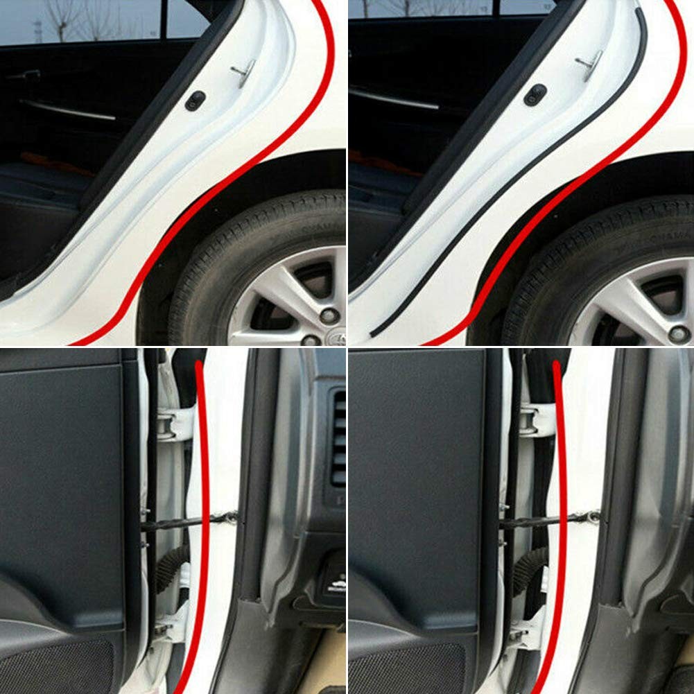 L-DiscountStore 4M Sloping D-Shaped Car Door Seal Strip Rubber Trunk Hood Edge Insulation Trim