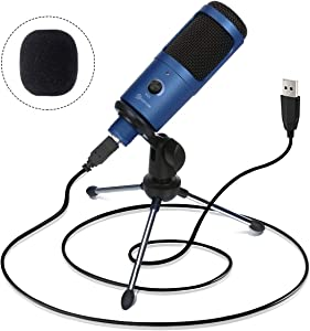 USB Microphone, EIVOTOR 192KHZ/24BIT Plug&Play Computer Microphone Podcast Condenser Recording Microphone for Laptop MAC or Windows Karaoke, YouTube, Gaming, Recording, Skype