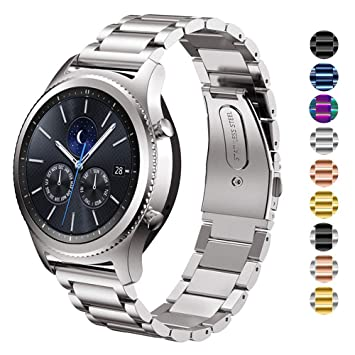 DEALELE Band Compatible para Gear S3 Frontier/Classic/Galaxy Watch 46mm, 22mm Metal Acero Inoxidable Correa de Repuesto para Mujer Hombre, Plata