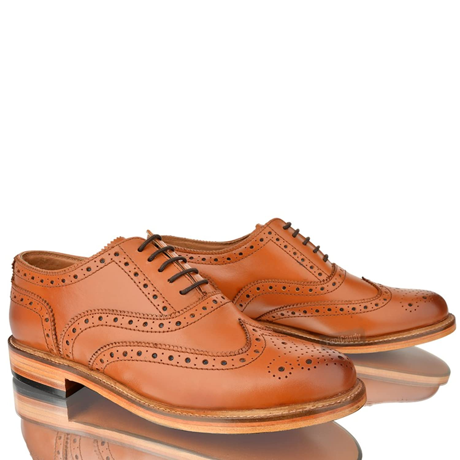 MENS LEATHER CASUAL OFFICE WORK SMART LACE UP BROGUE TAN PARTY SHOES BOOTS