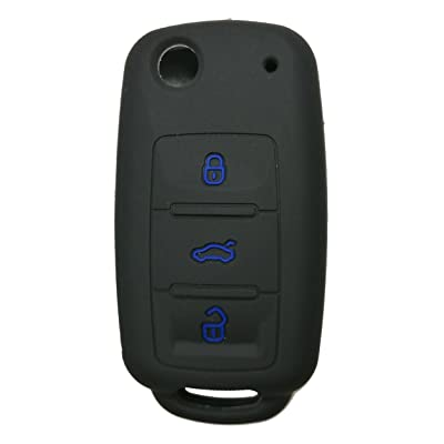 Coolbestda Silicone 3 Buttons Flip Key Fob Remote Cover Case Keyless Entry Protector Jacket Holder for VW Volkswagen Jetta GTI Passat Golf Tiguan Touareg Beetle: Car Electronics