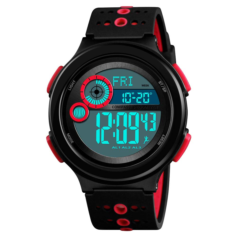 Boys' Watches, Huge Dial Cool Chirstmas Gifts 100M Waterproof Sports Casual Wristwatch for Boys Girls Youth Ages 11-15 Red by IWOCH
