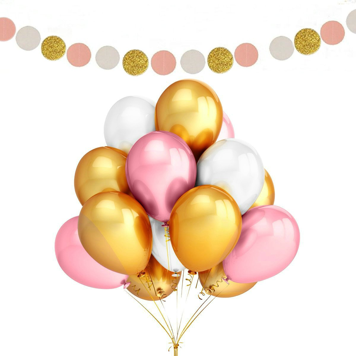 Fascola 100 Pack 12 Inches Ultra Thickness Gold & Pink & White Color Latex Party Balloons with Polka Dot Garland for Party Decorations