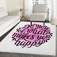 Quote Area Rug Carpet Do More of What Makes You Happy Slogan with Watercolor Brush Strokes Background Living Dining Room Bedroom Hallway Office Carpet 3x4 Pink and Purple