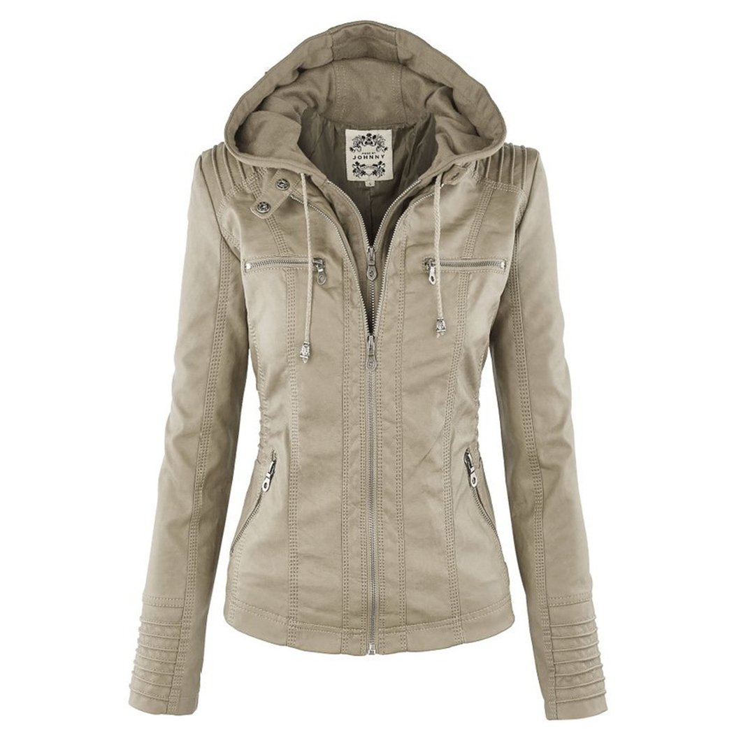 Sun Lorence Women's Casual Fashion Coat Removable Hooded Leather Jackets