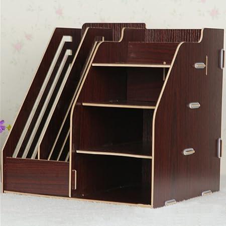 Hensych/® Holz Board Desktop Organizer Regal Aufbewahrungsboxen 2 Papier Dateien Halterung//Magazin Slots und 4 F/ächer bins DIY Original