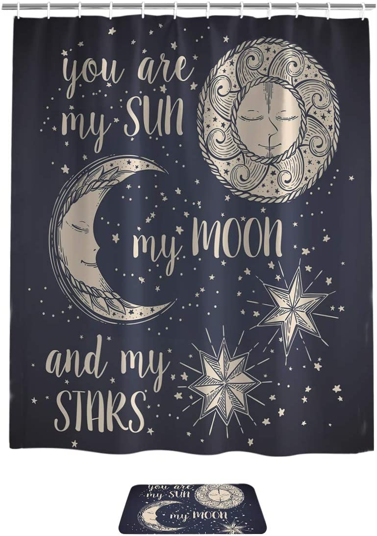 applebless Sun Moon Stars Decor Shower Curtain Bath Sets with Rugs You are My Sun My Moon My Stars,16