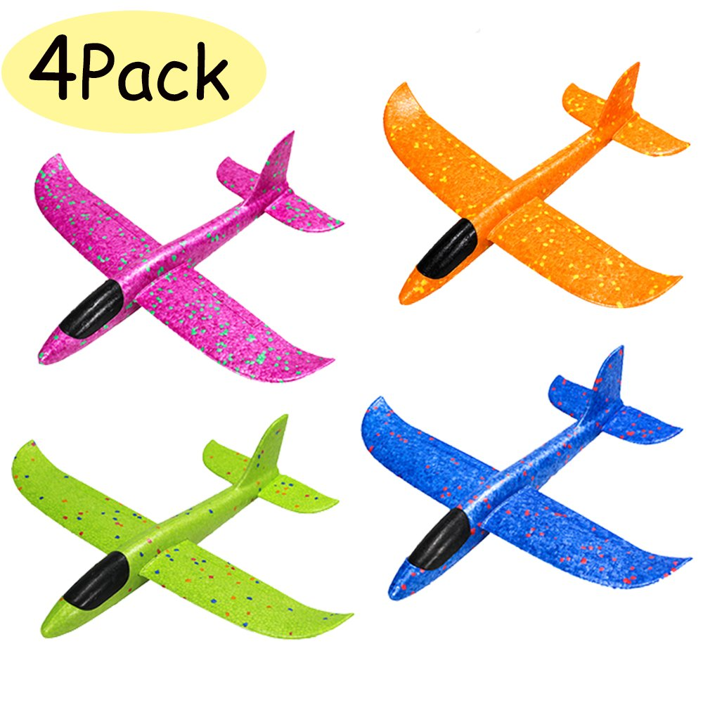 WenToyce 4 Pack Throwing Foam Airplanes, 12.5 Inches 2 Flight Mode Glider Inertia Planes Model, Manual Launch EPP Flying Aircraft Planes for Kids Outdoor Sport