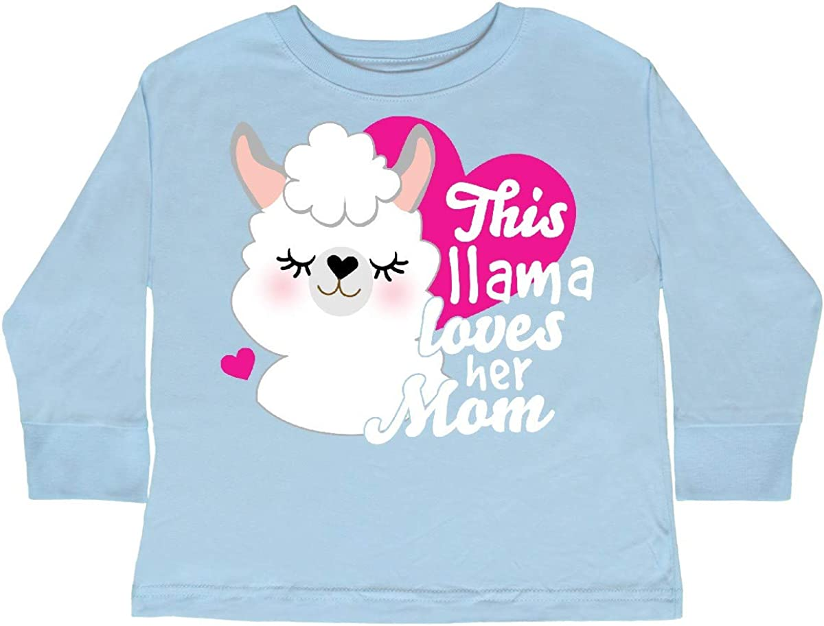 inktastic Valentines Day This Llama Loves Her Mom Toddler Long Sleeve T-Shirt