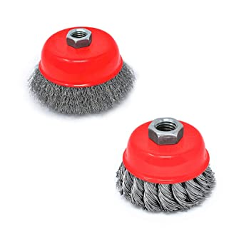 Toolman 2PCs 4 Knotted Cup Brush Set for Grinders Twist Knotted /& Crimped Wire Cup Brush Universal fit for Power Drill Works with DeWalt Makita Ryobi
