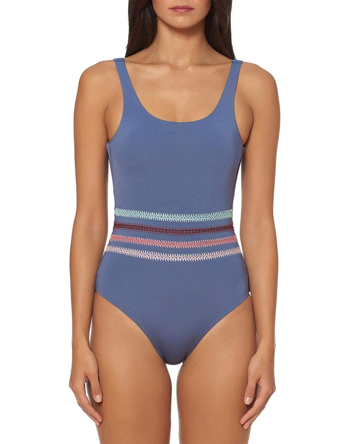 Dolce Vita Womens Kokomo Embroidered Over The Shoulder One Piece Swimsuit