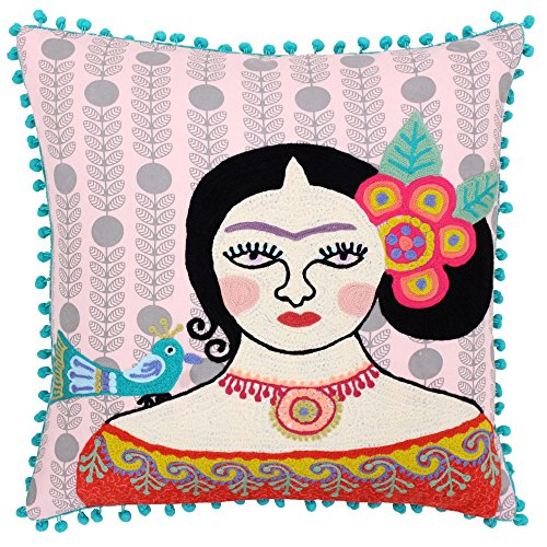 Bella Square Pillow - Riva Home Bella Pom Pom Edged Square Cushion Cover (17.7 x 17.7in) (Multicolored)