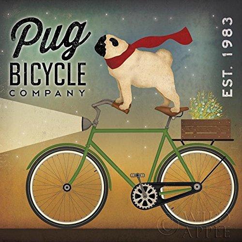 Buyartforless Pug on a Bicycle Company by Ryan Fowler 12x12 Art Print Poster Dogs -