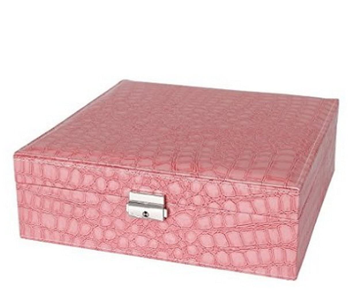 Leather Jewelry Box Makeup Case Large Capacity Cosmetic Lockable Storage Organizer Display with Mirror Rose (Pink)