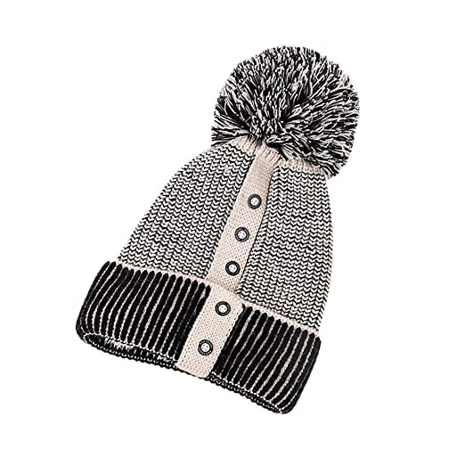 5e0f8b9c101 Yezijin Women Keep Warm Winter Hats Soft Stretch Knitted Wool Patchwork  Button Hat Outdoor Hats (