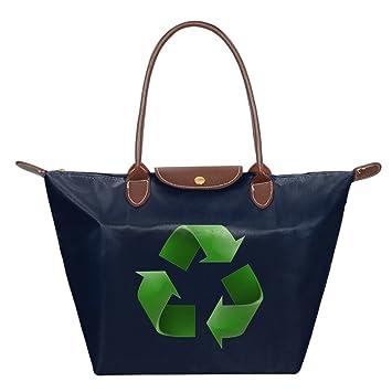 Verde reciclaje logo plegable bolsa bolsas bolso de mano ...