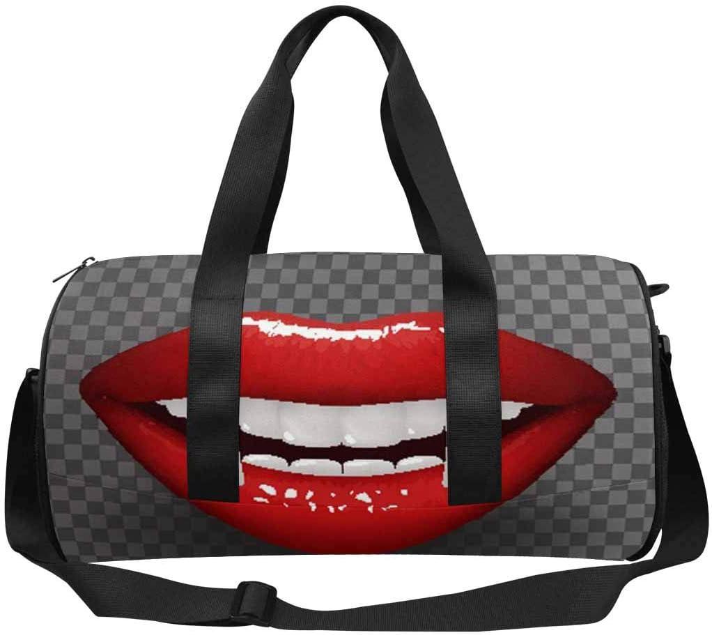 INTERESTPRINT Vampire Tooth Stylish Woman Lips Travel Bag Water-Resistant Duffle Bag