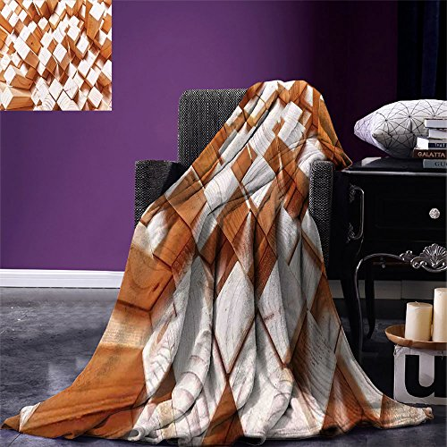 smallbeefly Geometric Digital Printing Blanket Natural Wooden Rustic Style Square Figures High and Low Oak Logs Timbre Design Summer Quilt Comforter Sand Brown ()