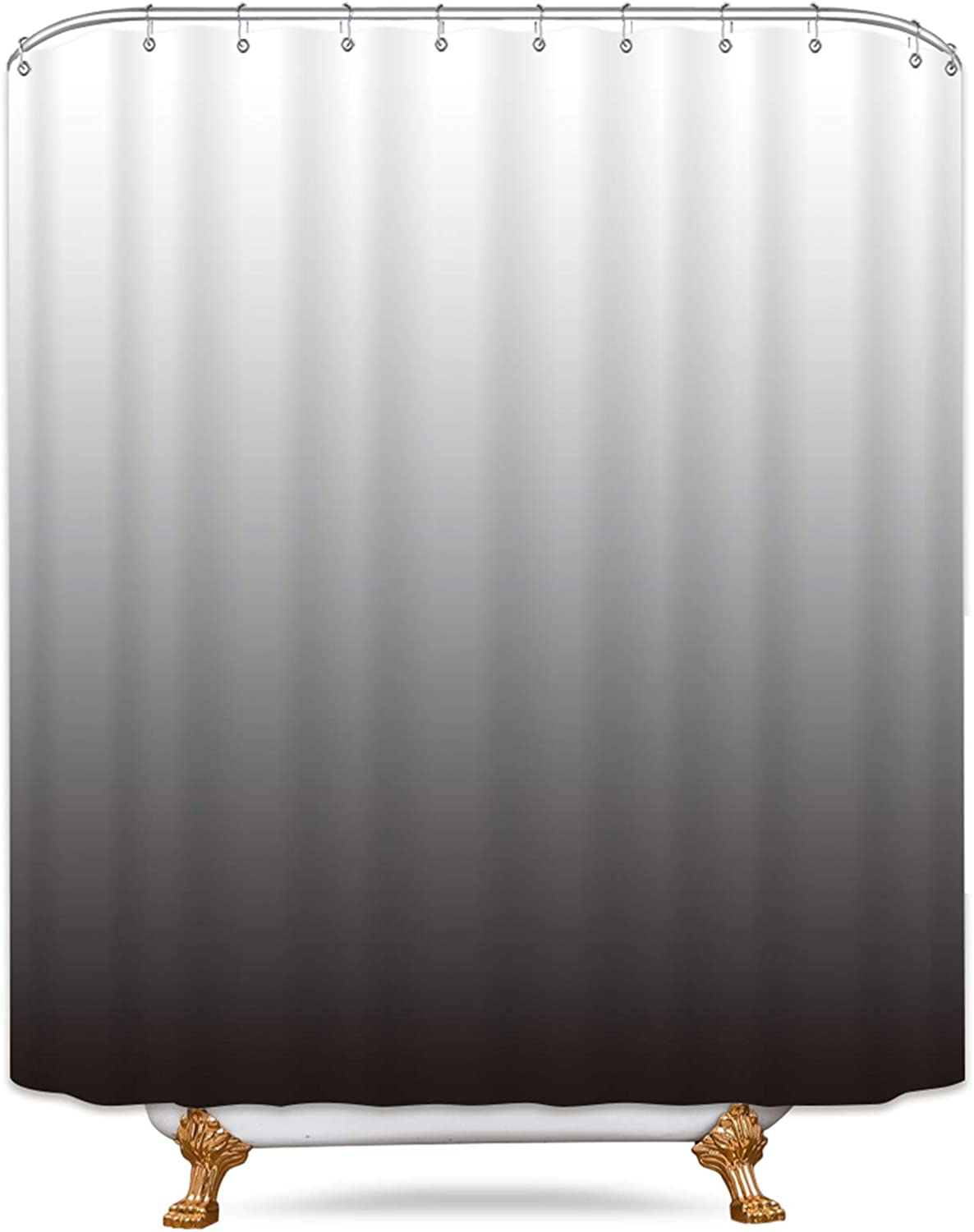 """Riyidecor Extra Long Ombre Gray Shower Curtain 72"""" W x 84"""" H Free Metal Hooks 12-Pack Heavy Duty Simple Modern Decor Fabric Set Polyester Waterproof Bathroom"""