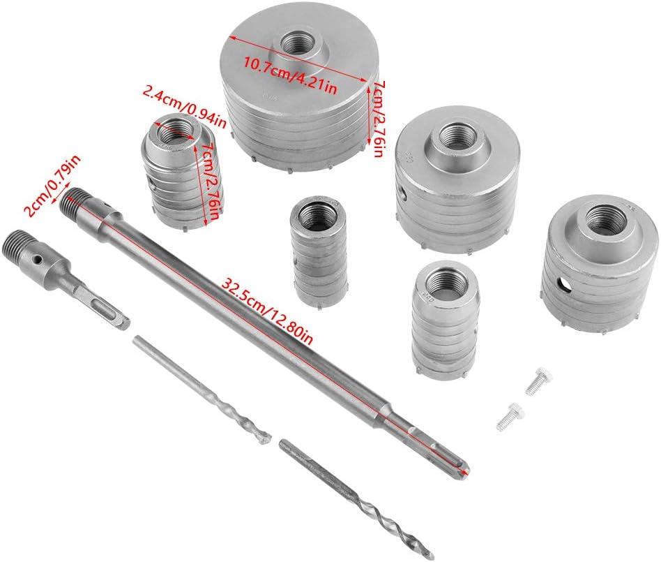 Frese Carotatrici A Tazza Set Di Punte Da Trapano Per Sega A Tazza Da 10 Pezzi TCT Con Codolo SDS Plus 35mm//40mm//50mm//65mm//82mm//110mm