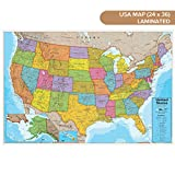 Waypoint Geographic Blue Ocean USA Wall Map (24'' x 36'') - Current up-to-Date - 1000's of Named Locations & Points of Interest - Rolled & Laminated - Display in Office, Classroom or Home