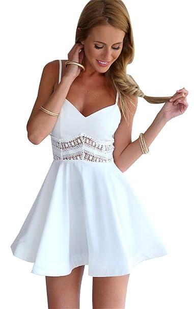 b7677fbe4cd Moda Sin Mangas Tirantes Finos Cuello en V Aplicación de Encaje Chifón Mini  Minivestido A-Line en línea Skater Plisado Sun Dress Vestido Blanco XL  ...