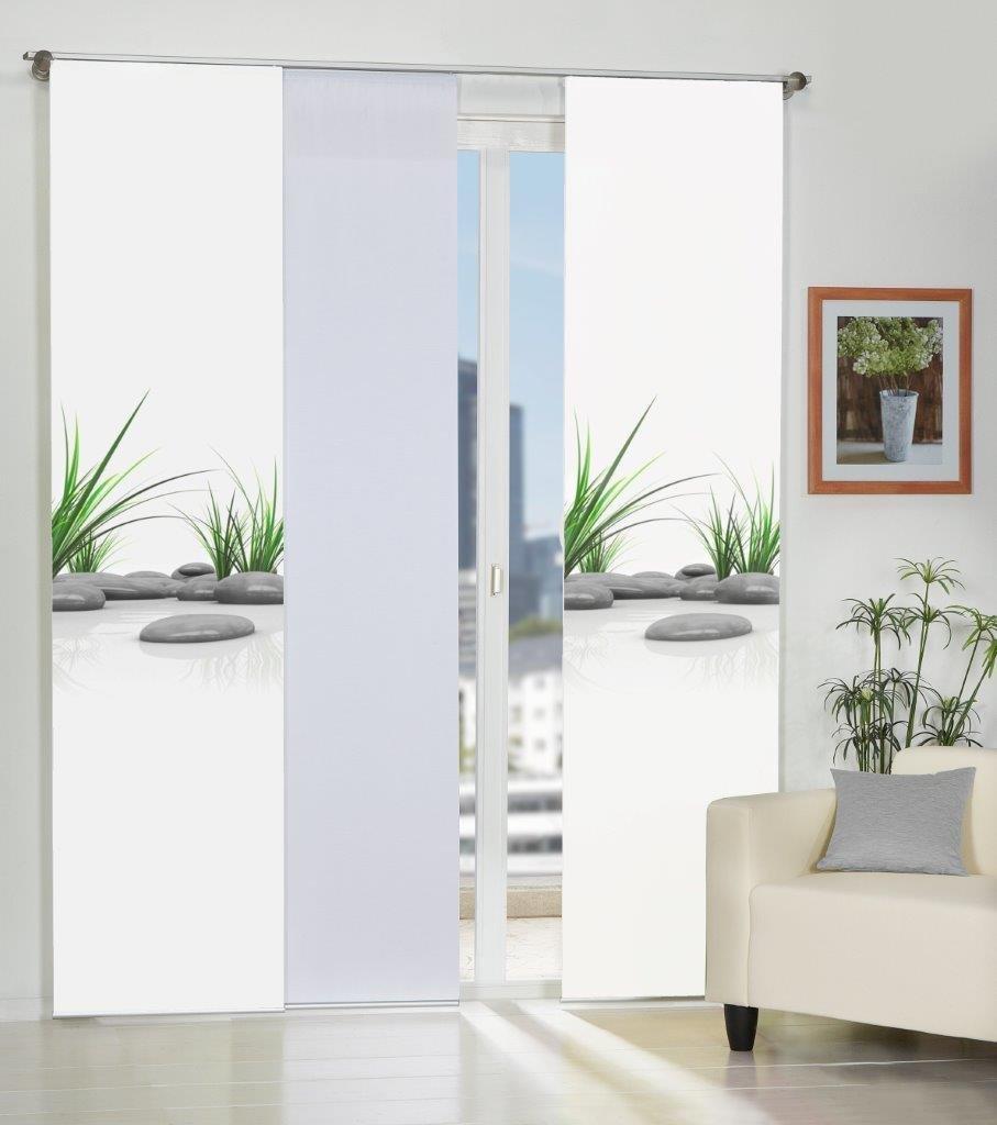 Home Fashion 3er-Set Flächenvorhänge BADALONA, Deko-Stoff blickdicht, inkl. hochwertigem Zubehör