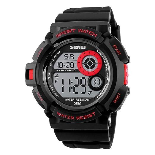 reloj de los hombres rojos del alpinismo del reloj digital reloj deportivo a prueba de golpes 50m impermeable para niños: Amazon.es: Relojes