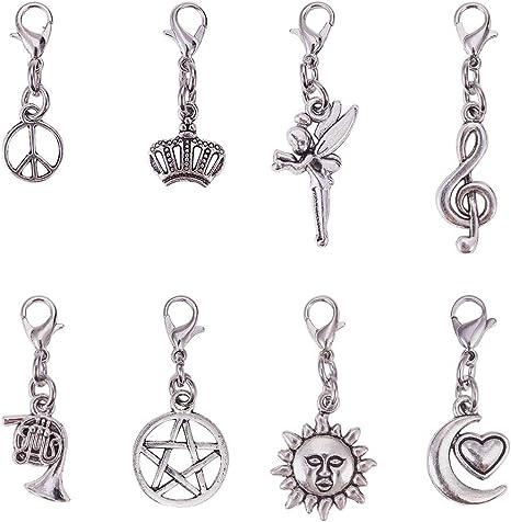 10 estilos para collares pulseras de metal plateado envejecido PandaHall 60 cierres de langosta grandes accesorios para hacer joyas