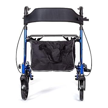 EC X FOLD andador plegable ligero con asiento y bolsa - elección de los colores (Azul)