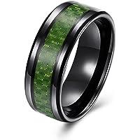 LZD Stainless Steel Black Mens Band Carbon Fiber Silver Black Blue Ring B558