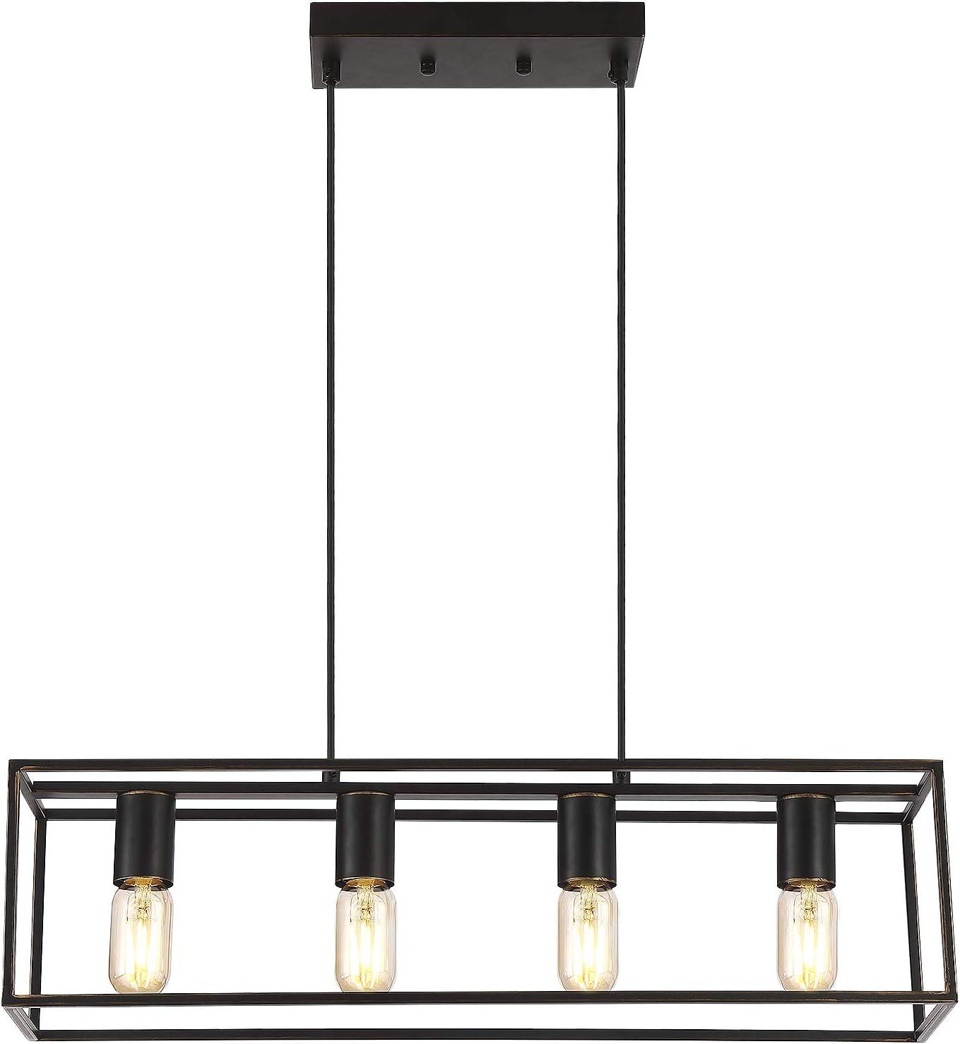 Industrial Linear Pendant Light Fixture, 4-Light Kitchen Island Lighting with Metal Open Frame . (Black+Brushed Gold, 4-Light) - -