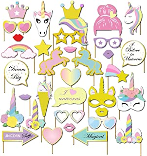 36pcs Unicornio Photo Booth Props, SZSMART Fotomatón de ...