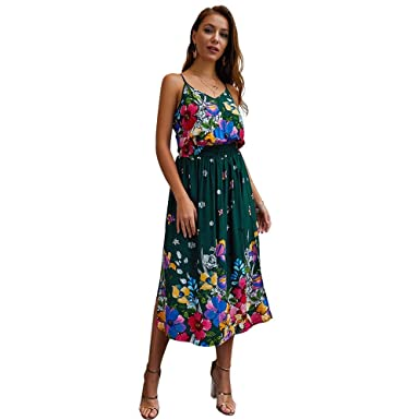 78cf4446a6 Women s Dresses Deep V Floral Printing Rompers Cotton Summer Fashion Party  No Zip Dress Green at Amazon Women s Clothing store