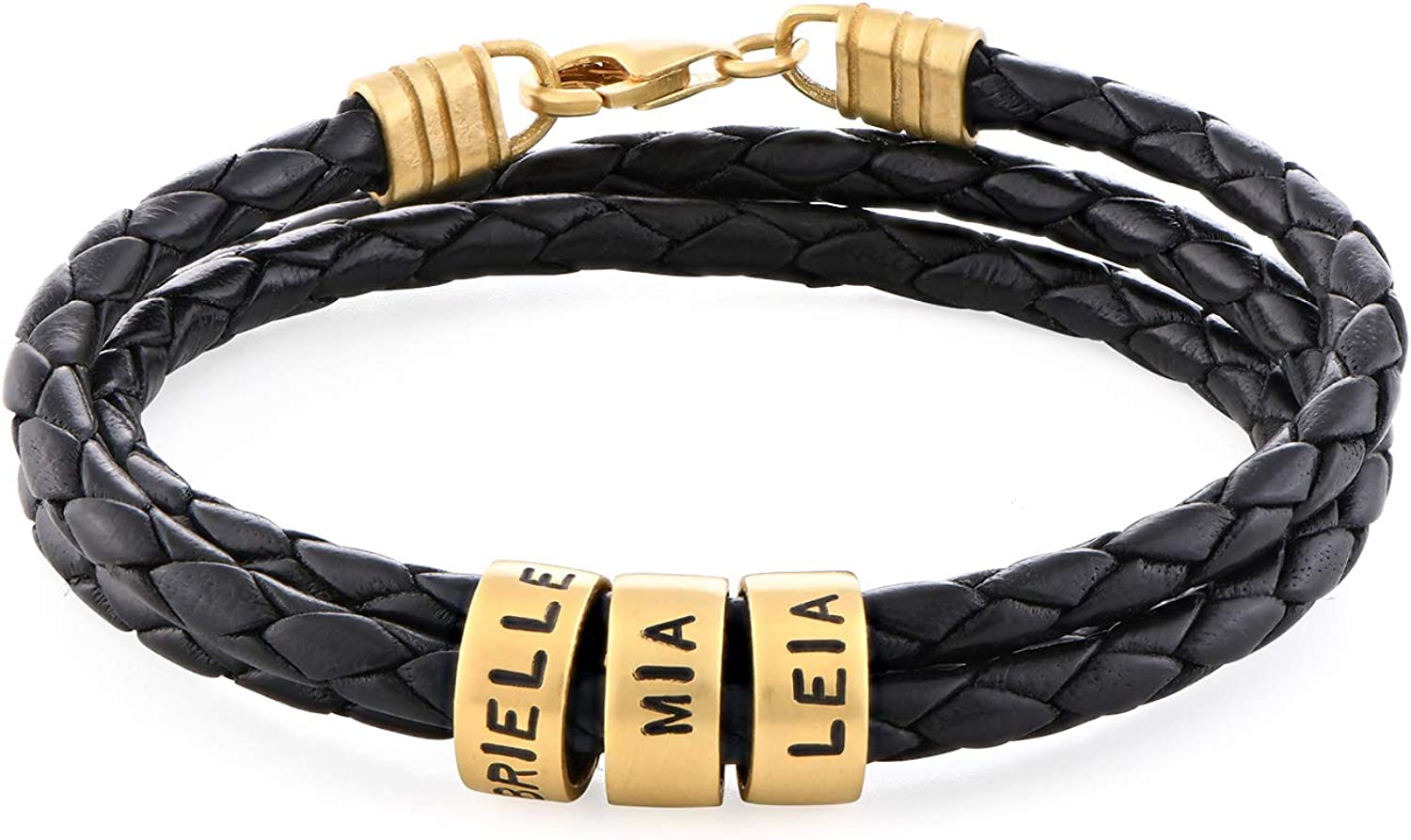 MyNameNecklace Personalized Sterling Silver 925 Men Braid Bracelet with Small Custom Engraved Beads Wax/Leather (Black/Brown)- Father's Day Men- Boyfriend Gift