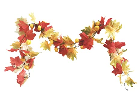 Artificial Fall Garland Maple Leaf Hanging Vine Foliage 2 Pack 6.5 Ft Per Piece