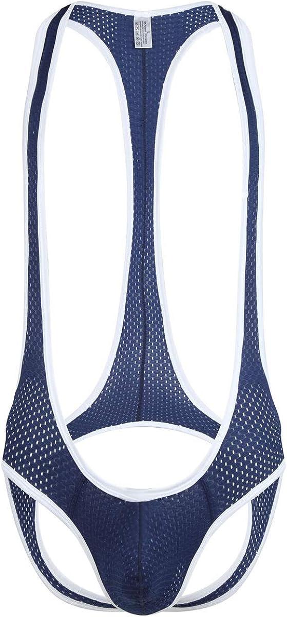 QiaTi Mens Thong Leotard Bodysuit Stretch Singlet Wrestling Jumpsuit One-Piece G-String Underwear
