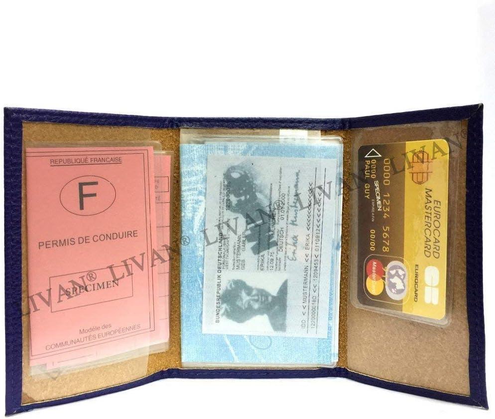 LIVAN identit/é Etui Carte Grise dans Plusieurs Couleur pour Homme et Femme Assurance Porte Papier Voiture en Cuir Graine Souple cr/édit permis Format 3 Volets Compact Bleu L0957
