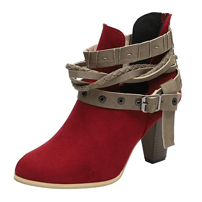 38361983fc Amazon.com: Women Boots JJLIKER Belt Buckle Short Boots Knight Ladies  Fashion Ankle Boots: Clothing