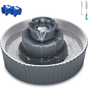 Cupcake Cat Water Fountain Porcelain, Pet Water Fountain for Dog and Cat, 2 Water Pumps, Ultra Quiet Scratch Resistant Cat water dispenser, Stronger than Ceramic Fountain Cleaning brushes