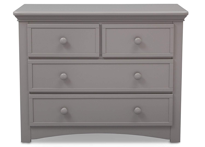 Serta Fall River 5-Piece Nursery Furniture Set White//French Grey Serta Convertible Crib, 4-Drawer Dresser, Changing Top, Serta Crib Mattress, Glider