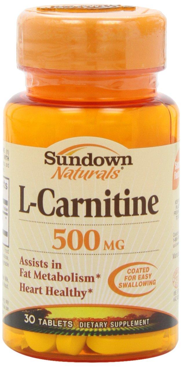 Sundown Naturals L-Carnitine, 500 mg, 30 Tablets (Pack of 2)